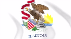 Flag of Illinois with gold embossed Stock Footage