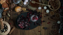 4k Christmas Composition on a Wooden Background with Champaign (focus on glass) Stock Footage