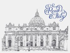 St. Peter's Cathedral, Vatican with original hand lettering insc - stock illustration