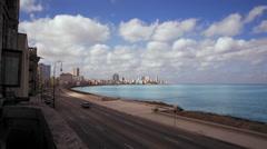 Establishing a tilting shoot to the Promenade in Havanna on Cuba Stock Footage