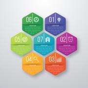 Vector illustration infographics seven hexagons Stock Illustration