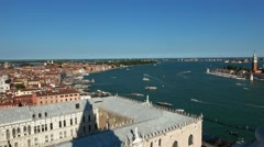 Aerial view over the city of Venice from Campanile Tower St. Mark´s Square - stock footage