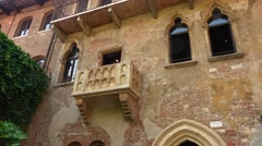 Original Balcony of Romeo and Juliet at Juliets home in Verona Stock Footage