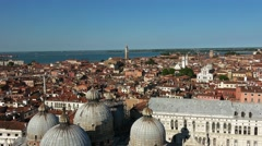 Aerial view over the city of Venice from Campanile Tower St. Mark´s Square Stock Footage