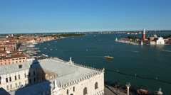 Aerial view from Campanile Tower at St. Mark´s Sqaure in Venice Stock Footage