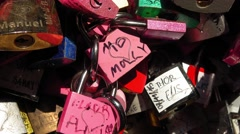 Padlocks attached to a wall in Juliet´s house in Verona - as a proof of love Stock Footage