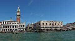 Campanile Tower and Doge´s Palace at St. Mark´s Square in Venice Italy - stock footage