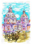 original marker painting of Rome Italy cityscape with hand lette - stock illustration