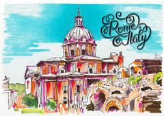 Original marker painting of Rome Italy cityscape with hand lette Stock Illustration