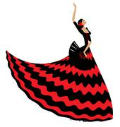 woman flamenco with black fan - stock illustration