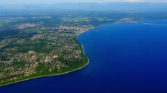 4K Aerial Coastal View, Above Island Residences, Sea Shoreline Landscape Stock Footage