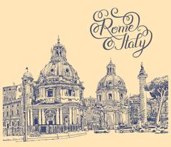 original digital drawing of Rome Italy cityscape with lettering - stock illustration