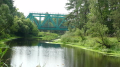 River in the Forest and Railway Bridge in the Summer Russia  - stock footage
