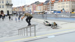 A rollerskater making a stunt on the new bridge in Copenhagen Stock Footage