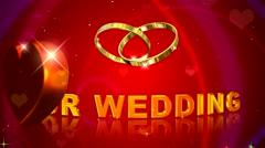 Red wedding background, our wedding with wedding rings Stock Footage