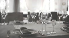 Stylish Wedding Table ready for Guests in Restaurant Stock Footage