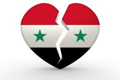Broken white heart shape with Syria flag Stock Illustration