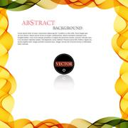 Vector colorful wave shaped stripes border background - stock illustration
