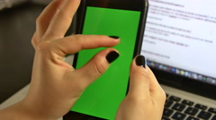 Young Woman Trying To Enlarge A Picture Or An Article On Her Smart Phone Stock Footage