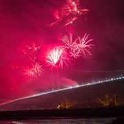 Fireworks over Forth road bridge, Edinburgh, Scotland, UK Stock Photos