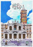 basilica papale santa maria maggiore drawing - stock illustration