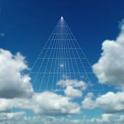 Pyramid construction in perspective with connected lines. Beautiful blue sky - stock illustration