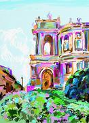 Painting of opera theater, Odessa, Ukraine Stock Illustration