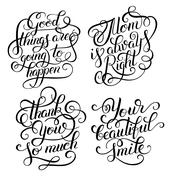 black and white inspirational phrase set, positive lettering com - stock illustration