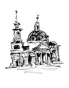 Sketch drawing of historical building from Kyiv, Ukraine Stock Illustration