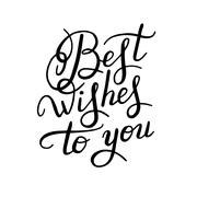 best wishes hand lettering inscription handwritten quote, callig - stock illustration