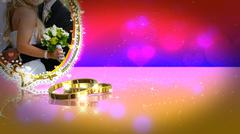 Wedding background witn wedding rings on mirror surface - stock illustration