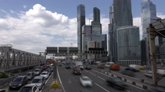 Moscow International Business Center, busy traffic time lapse of Third Ring Road Stock Footage