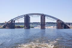Construction of the Iron Bridge of pipes in Kiev, Ukraine Stock Photos