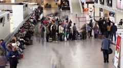 Passengers stand in line to boarding gate, queue begin to move, time lapse shot Stock Footage
