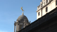 Bank of England golden statue - stock footage