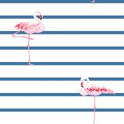Pink flamingo seamless pattern with stripes Stock Illustration
