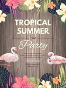 Bright hawaiian design with tropical plants and hibiscus flowers Piirros