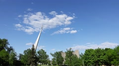 Monument to the Conquerors of Space at Cosmopark, time lapse shot Stock Footage