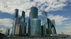Moscow City International Business Center and Presnenskaya embankment, Timelapse Stock Footage