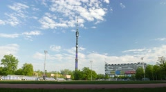 Ostankino Television Tower and Technical Center, time lapse shot Stock Footage