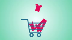 Animated shopping cart - stock footage