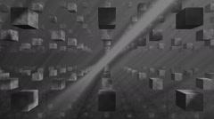 Looping grid of dark stone cubes floating past camera Stock Footage