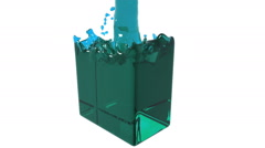 Blue fluid fills up a rectangular container Stock Footage