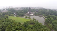 Aerial Ancient Tower in China Stock Footage