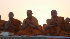 Monks praying,Lumbini,Nepal Stock Footage
