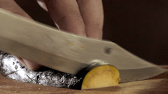 Vegetable Carving knife Stock Footage