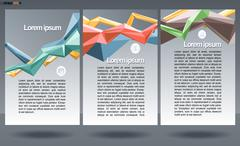 Abstract print A4 design in 3 parts, with colored lines for flyers, banners o Stock Illustration