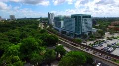 AERIAL - Train tracks in Miami - Brickell area Stock Footage