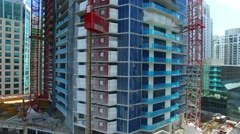AERIAL - Construction elevator in Miami Stock Footage