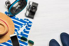 The travel and clothing accessories apparel along for the men Stock Photos